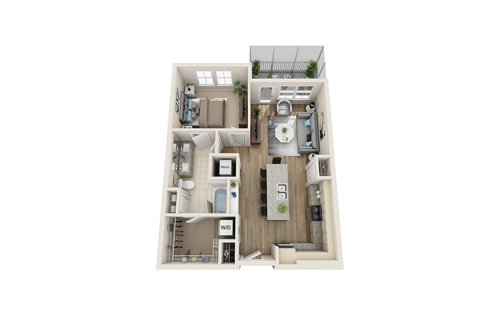 Olympic - 1 bedroom floorplan layout with 1 bath and 775 square feet.
